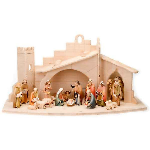 Stylised wooden nativity scene 14 cm 1