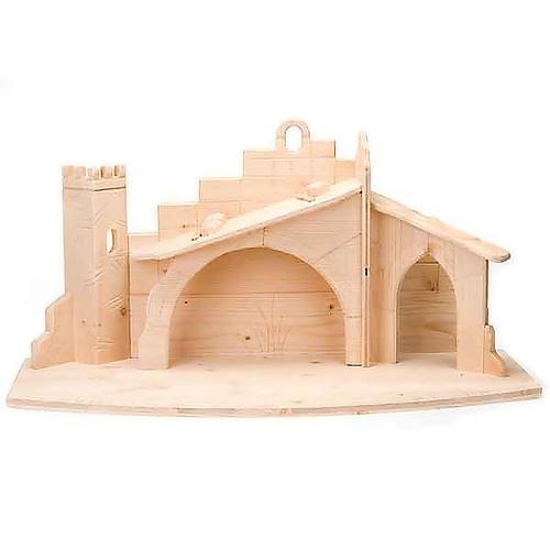 Stylised wooden nativity scene 14 cm 8