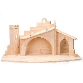 Crèche bois stylisée cm 14 s8