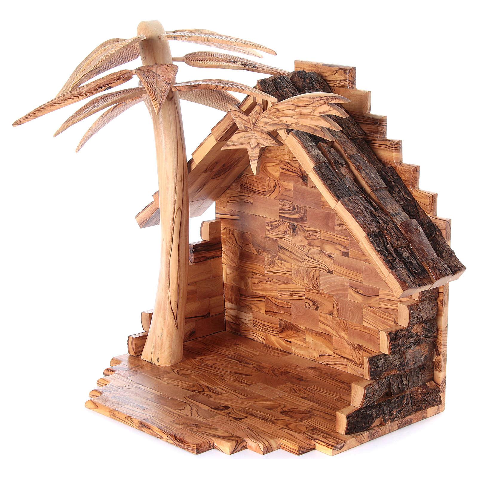 Szopka komplet ze stajenką 22 cm drewno oliwne Betlejem 4