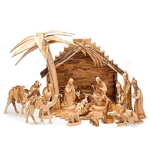 Bethleem olive wood crib 22cm 1