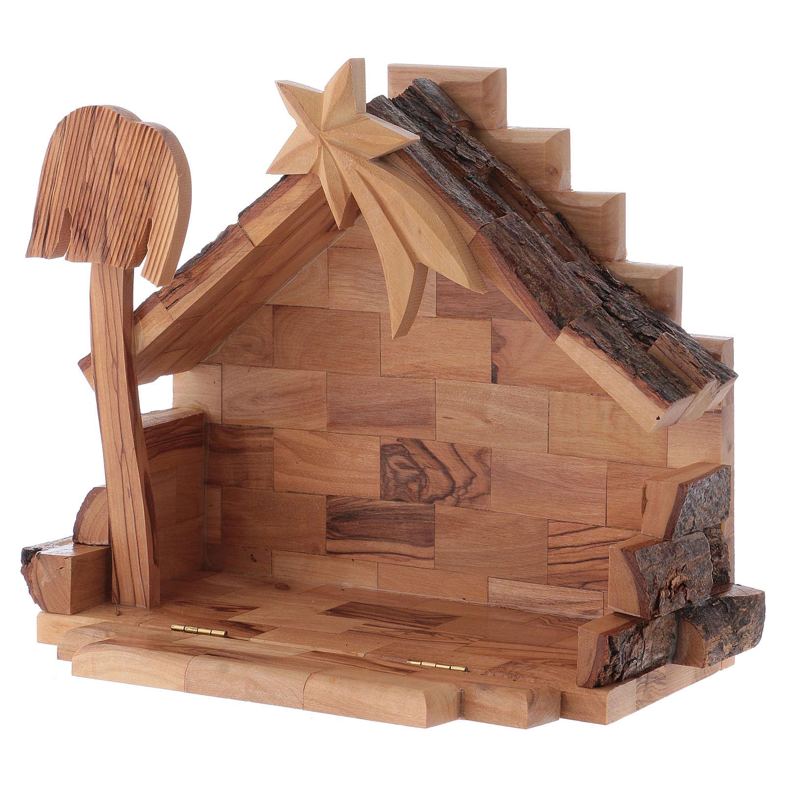 Crèche bois d'olivier Bethléem cm 7 4
