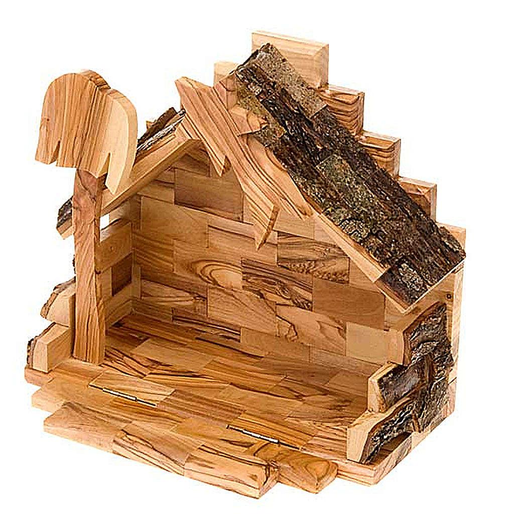 Crèche bois d'olivier de Bethléem cm 8 4