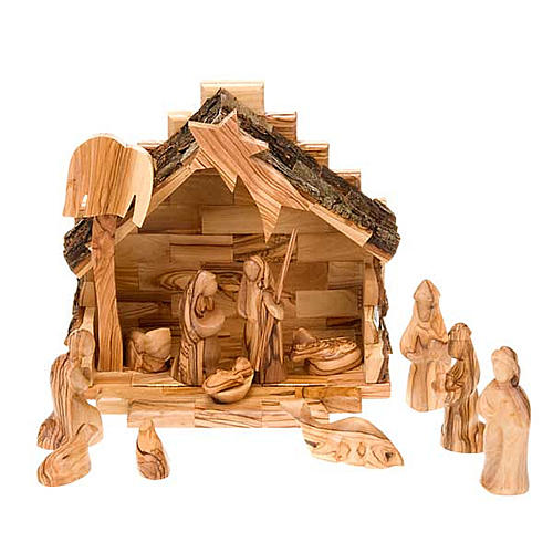 Stylised olive wood crib cm 8 1