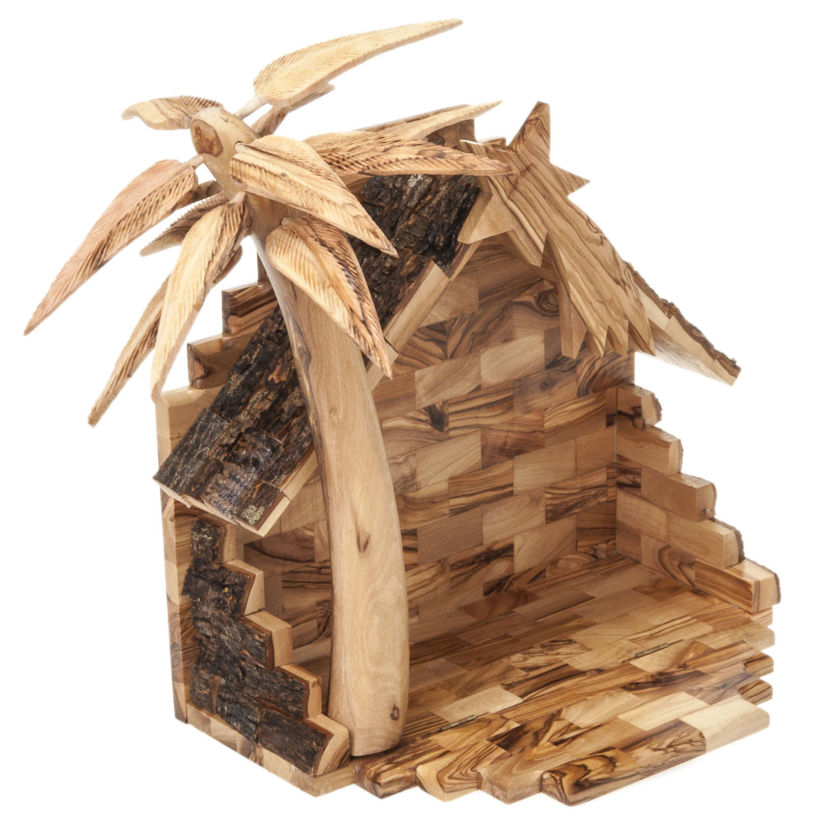 Crèche bois d'olivier de Bethléem cm 14 4
