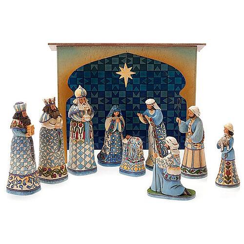 Crèche résine, 13.5 cm. Mini Blue Nativity 1
