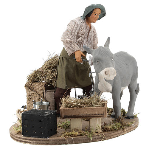 Animated nativity scene figurine, farrier at work 14 cm 3