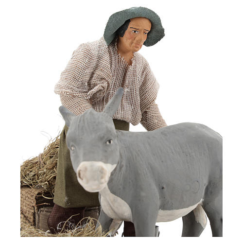 Animated nativity scene figurine, farrier at work 14 cm 2