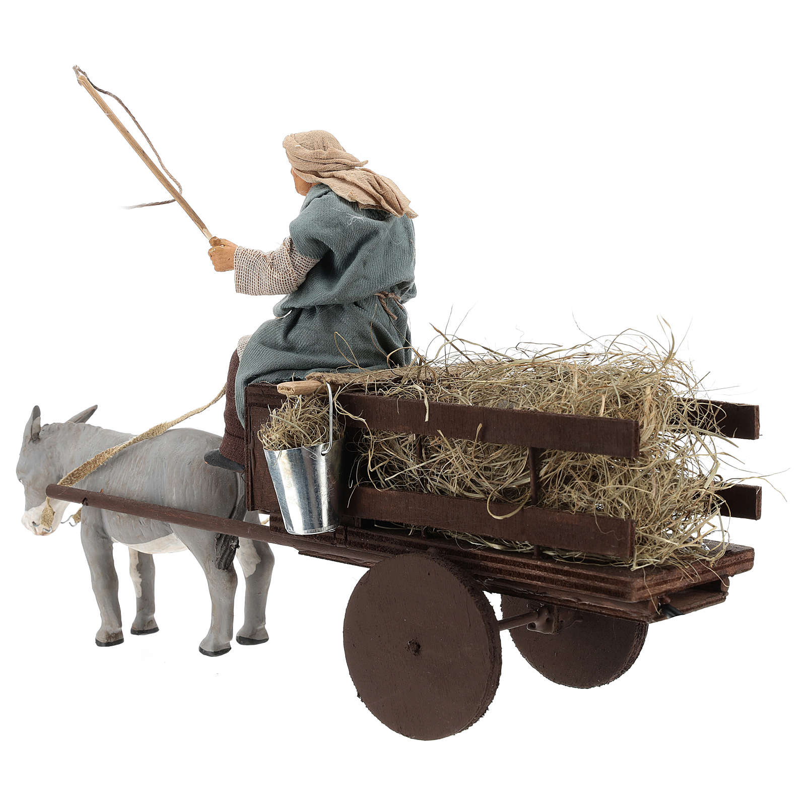 Animated nativity scene figurine man on cart in clay 14 cm 4