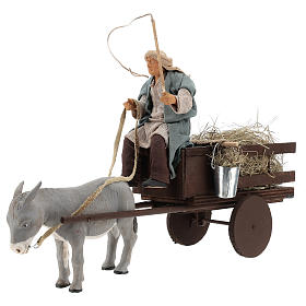 Animated nativity scene figurine man on cart in clay 14 cm s3
