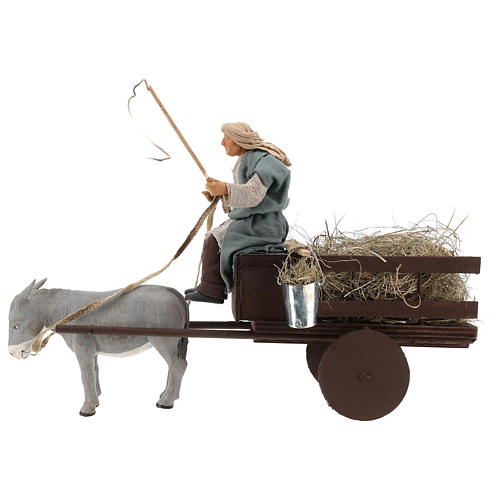 Animated nativity scene figurine man on cart in clay 14 cm 1
