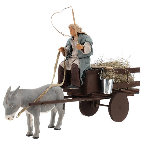 Animated nativity scene figurine man on cart in clay 14 cm 3
