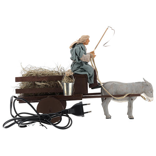 Animated nativity scene figurine man on cart in clay 14 cm 5