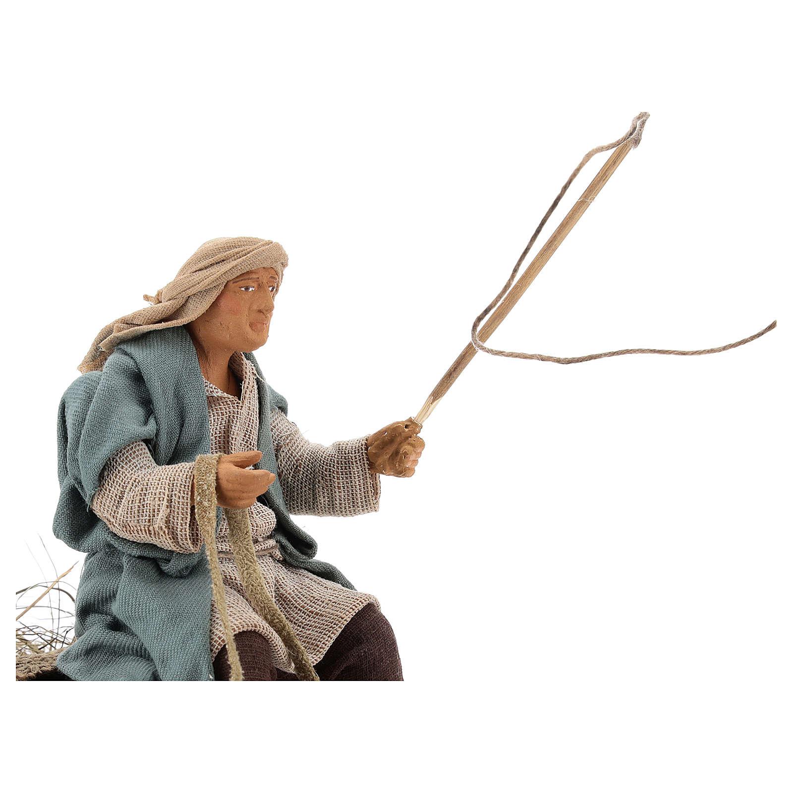Hombre sobre de una carreta movimiento terracota 14 cm 4