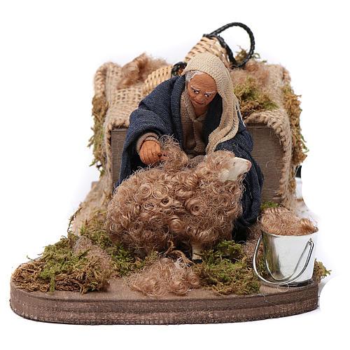 Nativity scene figurine, Sheep shearer in clay10cm 1