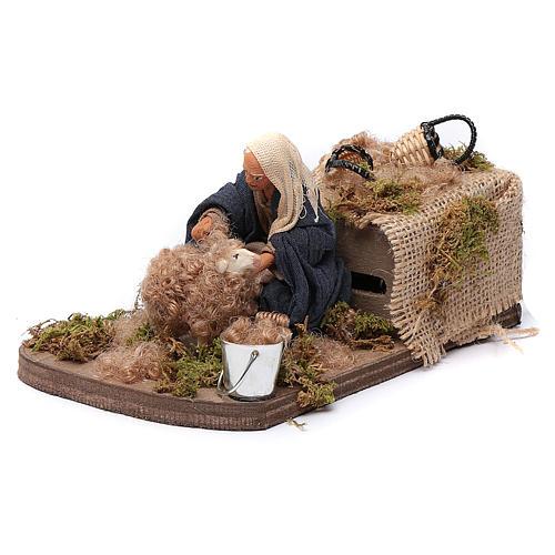 Nativity scene figurine, Sheep shearer in clay10cm 2