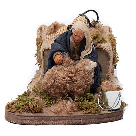 Presépio Napolitano: Movimento tosquiador ovelha para presépio em terracota com figuras de 10 cm de altura média