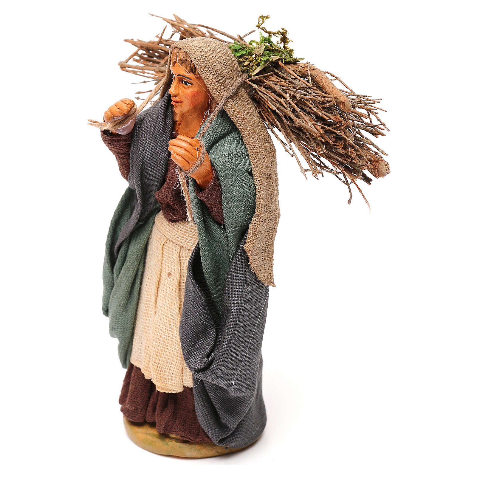 Nativity set accessory woman with firewood 10 cm clay 4