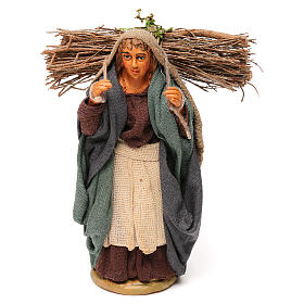 Nativity set accessory woman with firewood 10 cm clay s1
