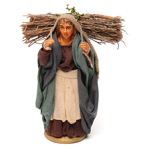 Nativity set accessory woman with firewood 10 cm clay 1