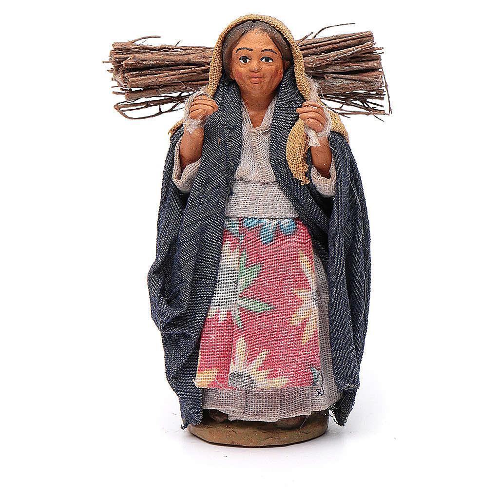 Donna con legna 10 cm terracotta 4