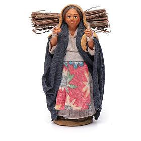 Donna con legna 10 cm terracotta s1
