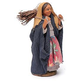 Donna con legna 10 cm terracotta s3