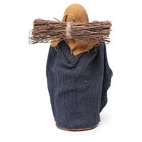 Donna con legna 10 cm terracotta s4