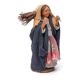 Nativity set accessory woman with firewood 10 cm clay s3