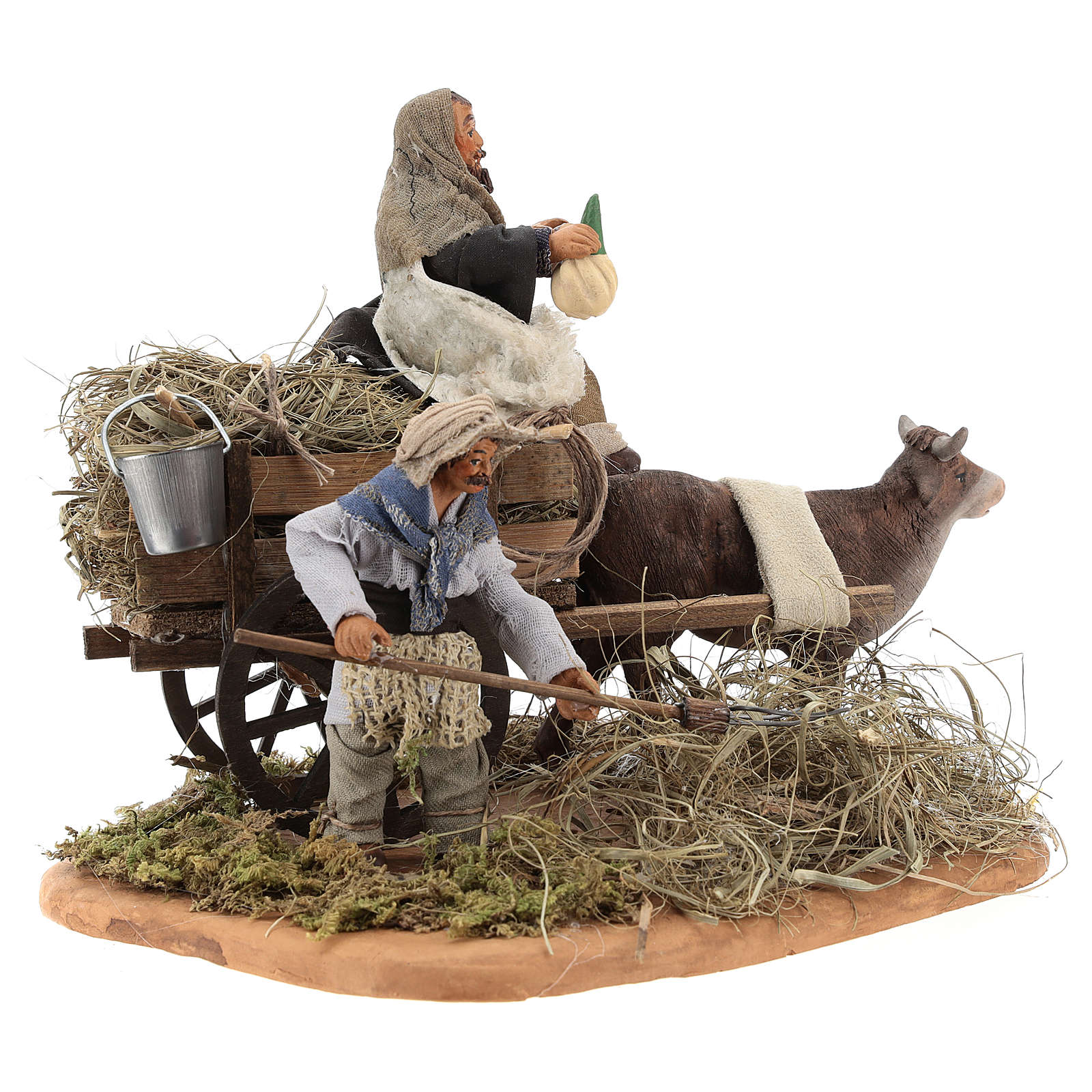Nativity set accessory Country scene cart 10 cm clay figurines 4