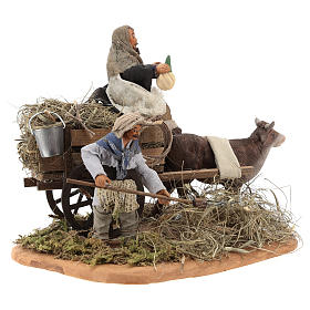 Nativity set accessory Country scene cart 10 cm clay figurines s4