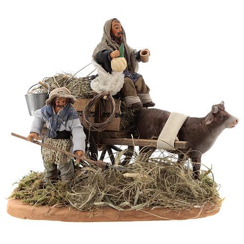 Nativity set accessory Country scene cart 10 cm clay figurines 1