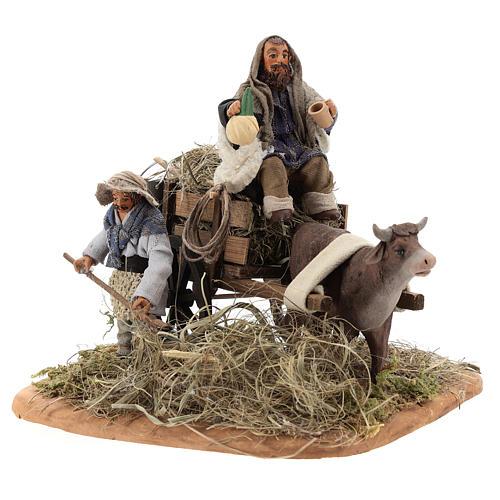 Nativity set accessory Country scene cart 10 cm clay figurines 3