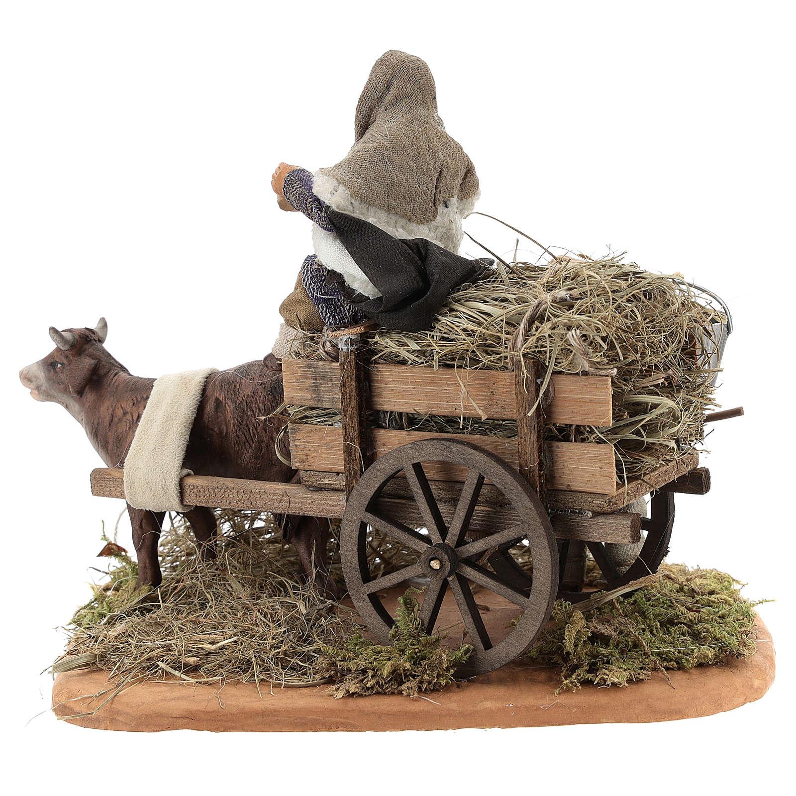 Escena campesinos con carro 10 cm 4