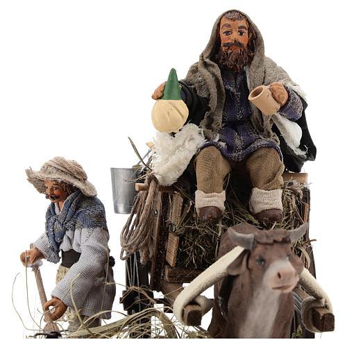 Escena campesinos con carro 10 cm 2