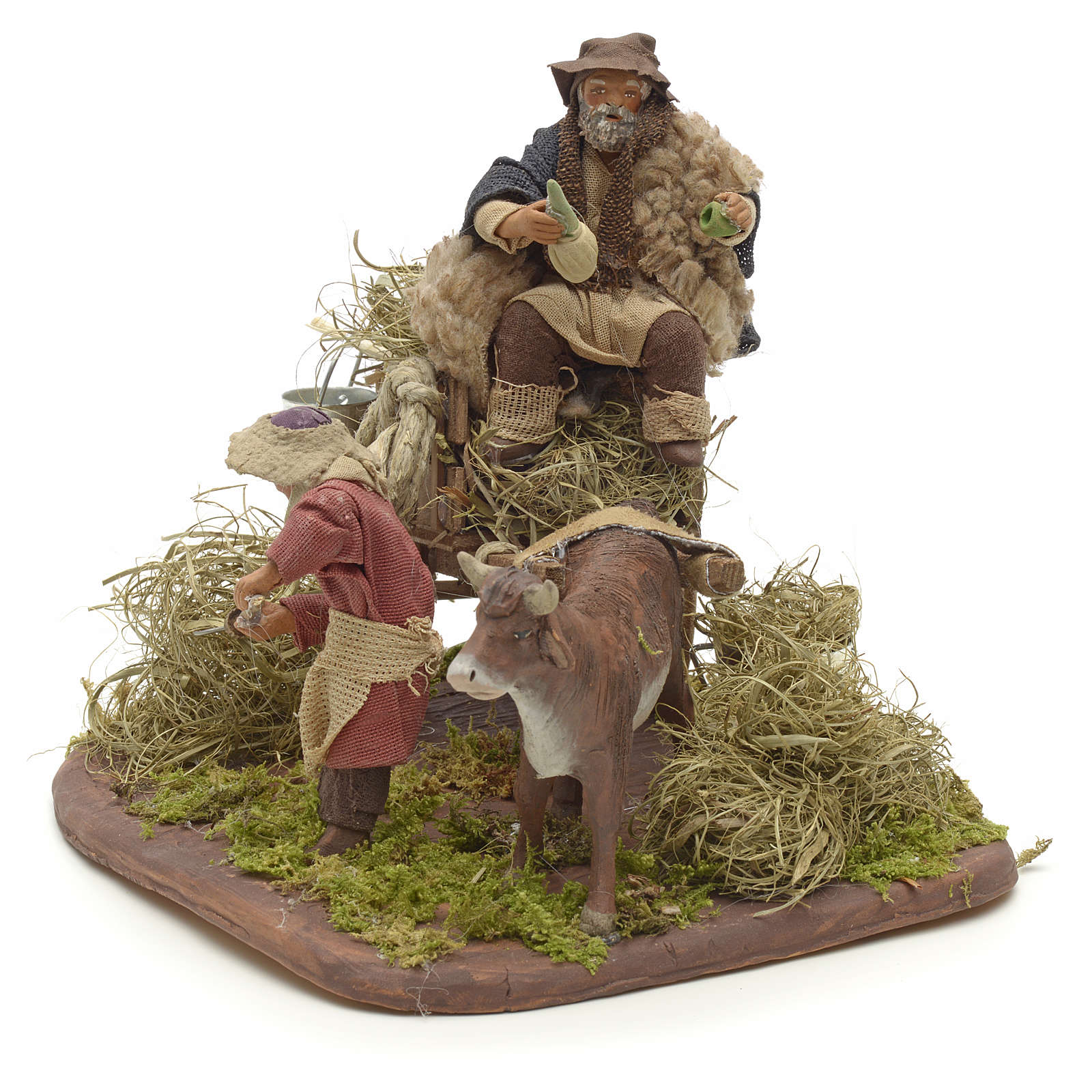 Nativity set accessory Country scene cart 10 cm clay figurines 4