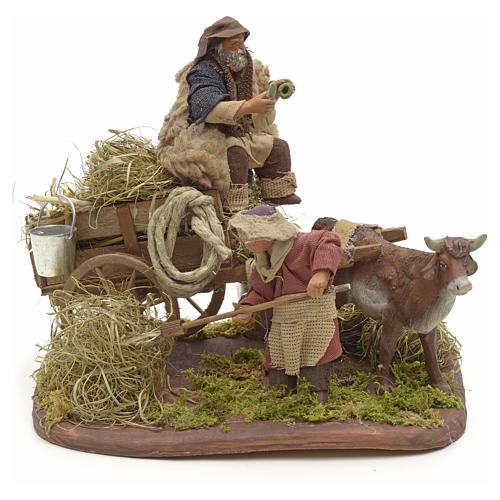 Nativity set accessory Country scene cart 10 cm clay figurines 1
