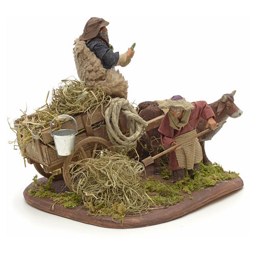Nativity set accessory Country scene cart 10 cm clay figurines 2