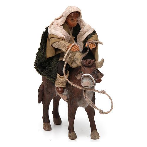 Nativity set accessory Countryman on ox 10 cm figurine 3