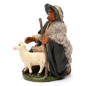 Nativity set accessory Kneeling shepherd sheep 10 cm figurines s2