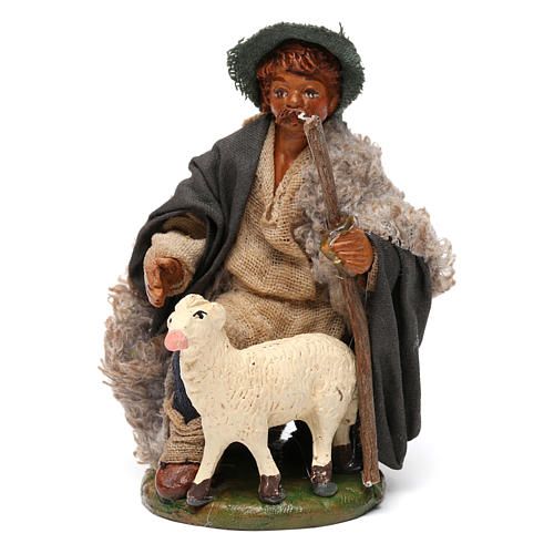 Nativity set accessory Kneeling shepherd sheep 10 cm figurines 1