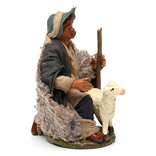 Nativity set accessory Kneeling shepherd sheep 10 cm figurines 3