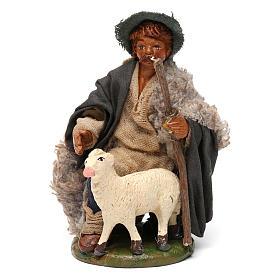 Nativity set accessory Kneeling shepherd sheep 10 cm figurines s1