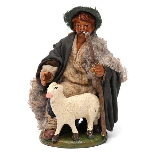 Nativity set accessory Kneeling shepherd sheep 10 cm figurines 1