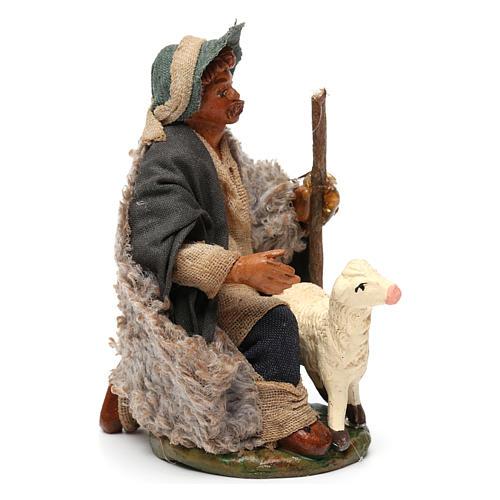 Nativity set accessory Kneeling shepherd sheep 10 cm figurines 3