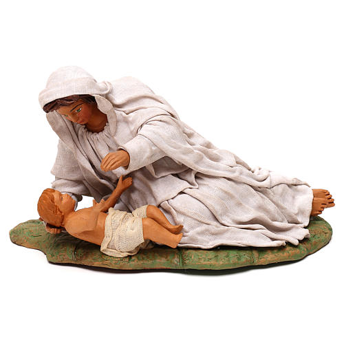 Virgen acostada con nino 24 cm 1