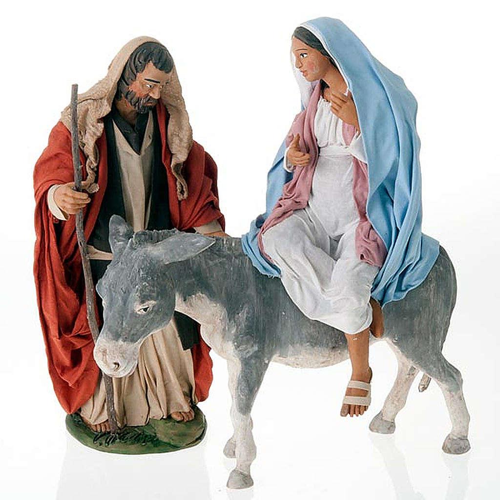 Giuseppe e Maria incinta su asino 30 cm 4
