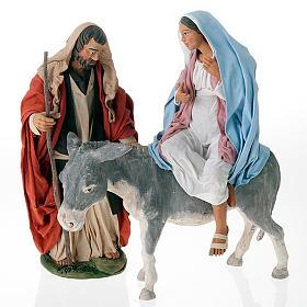 Nativity scene set Joseph and expecting Mary on donkey 30 cm s1