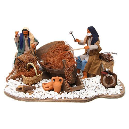 Animated nativity scene, fishermen 14 cm 1