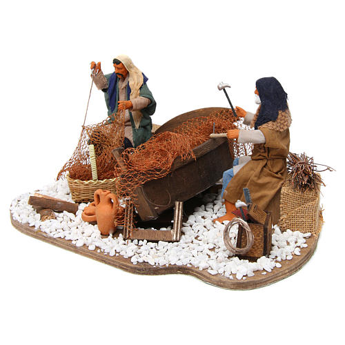 Pescadores con barco en movimiento 14 cm 2